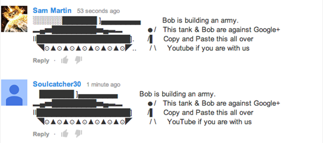 YouTube Google Comments War